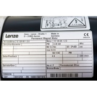Lenze Permanent Magnet Motor  13.120.65.1.2.0   1000rpm -Gebraucht/Used