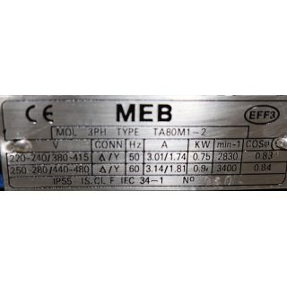 MEB 3~Motor TF 90S-4  1,1 kW  1400 rpm