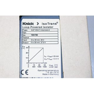 KNICK Iso Trans Loop-Power Isolator typ A47H3/4 -Neu/OVP
