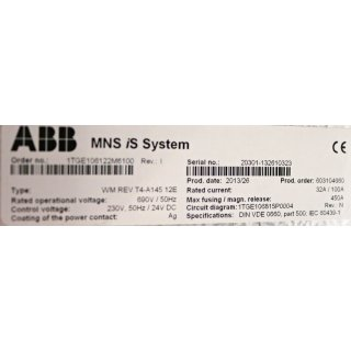 ABB MNS iS System WM REV T4-A145 12E  690V/50 Hz