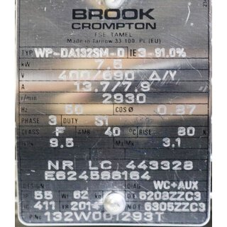 BROOK CROMPTON MOTOR WP-DA132SM-D 7,5kW -Unused