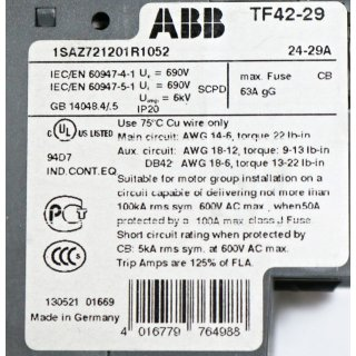 ABB TF42-29 Thermal Overload relay -Neu