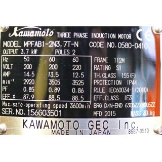 KAWAMOTO electric 3 - Phase Inducation Motor Typ: